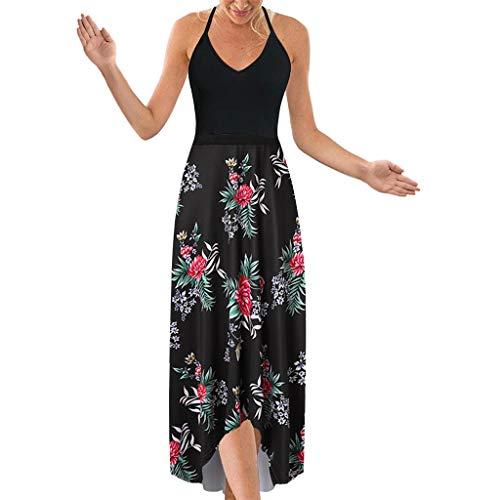 MAYOGO Kleid Sommer Damen Lang Blumen Patchwork Casual Maxikleid Vorne Kurz Hinten Lang,Ohne ärmel Rückenfrei Spagettiträger Rückenfrei Casual Kleider
