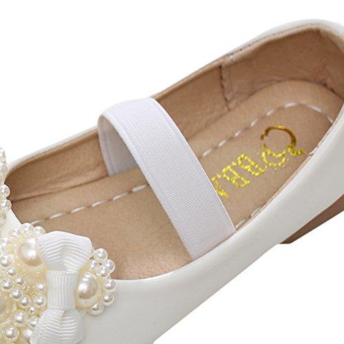 Y-BOA Chaussures Ville Princesse Enfant Fille Souple Ballerine Perles Baptême Nœud Papillon Blanc