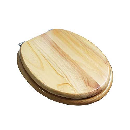 YYUE Toilettenbrille,Toilettenabdeckung Langsam Schließender Hochleistungs-Toilettensitz Einfache Installation Und Reinigung Von Massivholz,Wood Color