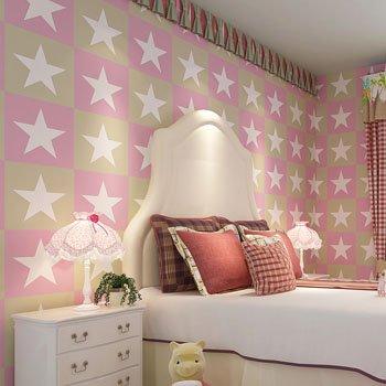 DUOCK Amerikanische Kinder Wallpaper Stars Non Woven bunte Wand Papierrolle Mädchen Schlafzimmer Kontakt Papier Boy Wallpaper für Wände, Rosa, 53 CM X 10 M (Boy Kontakt Papier)