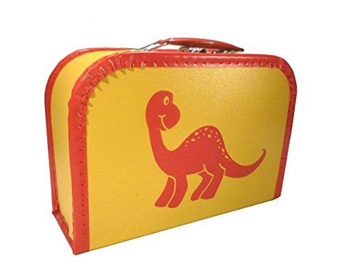 Pappkoffer gelb mit Dino rot 40 cm mit Trim