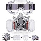 NASUM Facial Cubierta Antipolvo, con 2 Filtros / 2 Cajas / 8 Algodones/Gafas Protectoras, contra Polvo/Partículas/Vapor/Gas,