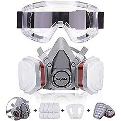 NASUM Respirateur de Protection Kit de Masque avec 2 Filtres/2 Bo?tes/8 Cotons Filtrants/des Lunettes, Réutilisable Anti-Poussière/Particule/Vapeur/Gaz, pour Pulvérisation/Peinture/Agriculture