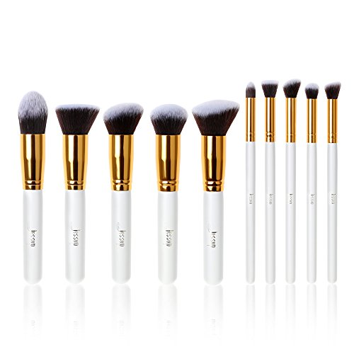 Jessup Make-up-Pinsel-Set T065, weiß/goldfarben, professionell, flüssig, Kabuki-Pinsel,