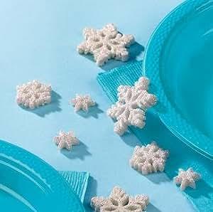 2x Confettis de table - Flocons de neige aux paillettes - 20 pièces en plastique - décoration de Noël