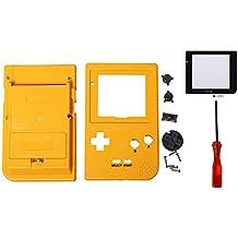 eJiasu Funda de Reemplazo de Vivienda Funda de Carcasa para Nintendo Consola de Gameboy Pocket GBP (Cubierta amarilla de la cubierta + destornillador + cubierta de la lente de la pantalla)