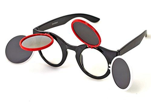 Retro Sonnenbrille im Steampunk Stil Total Verrückt runder Rahmen Silber-Verspiegelt