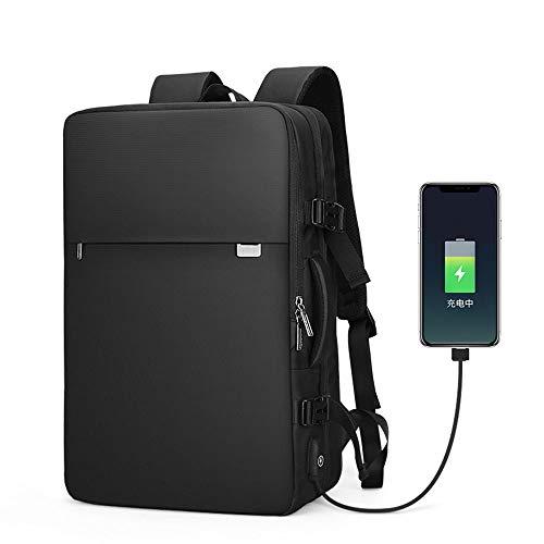 Doppel-Schultertasche für Studenten, erweiterbar, Diebstahlschutz, multifunktionaler Tagesrucksack, Büchertasche, Schulranzen, Schwarz - Erweiterbar Aufrecht Tasche