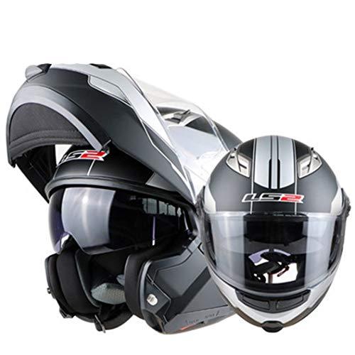 Casco da corsa per adulti Off Road Modulare con visiera parasole interna Double Lens Full Face Motocross Cappellini di sicurezza Anti crash Downhill Flip Up Casco moto 23 Optio