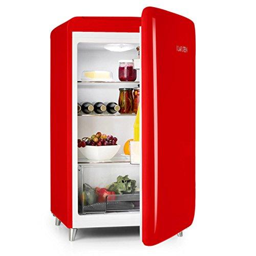 Klarstein PopArt-Bar - Retro-Kühlschrank, Mini-Kühlschrank, 136 Liter Fassungsvermögen, Retro-Look, Türanschlag rechts, Fifties-Style, Gemüsefach, rot