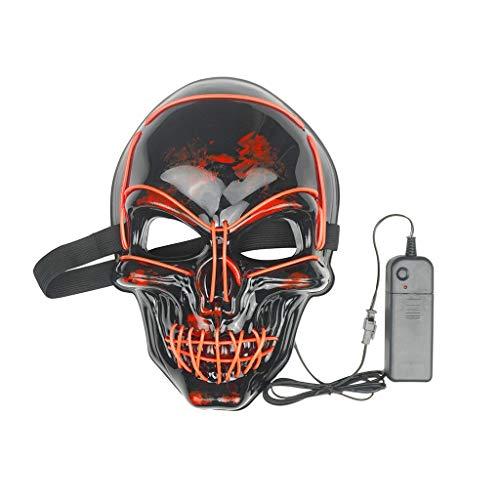 Halloween Kostüm Einzigartige Gruppe - WOBANG Halloween Maske LED Light Wire Cosplay Maske Purge Mask für Halloween Festival Cosplay Halloween Kostüm Horrormaske Dress up (Orange)