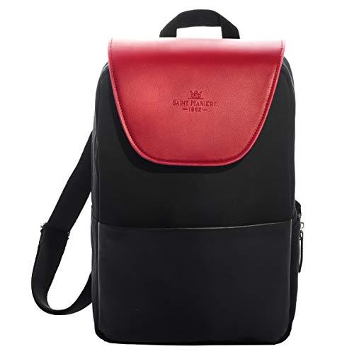 Saint Maniero Design Damen Rucksack für Alltag, Uni und Business - viel Stauraum (Laptop, Leitzordner, usw) - modische Farben - wasserabweisendes Material (Bordeaux Rot)