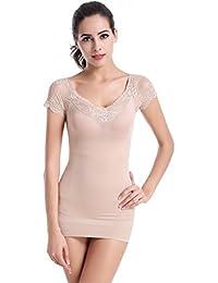 Glield Encaje la camiseta Reductora Tipo Body Sin Costuras Para Mujer SW09
