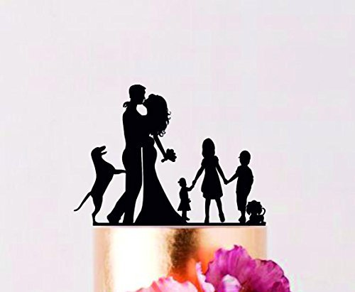 JeremyHar75 - Decoración para Tarta de Boda, diseño de Novia y Novio con niñas y Perros, para Parejas con Siluetas de niños, decoración para Tarta de Aniversario
