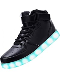 [Present:kleines Handtuch]Schwarz EU 44, Blinkende Damen JUNGLEST® Sneakers Neu Led Freizeit High Top Leuchtende Schuhe Lic
