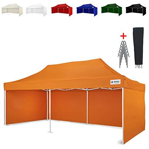 Party Zelt Exclusive BRIMO ® Komplett 3 volle Wände + 8 Verankerungsdübel und Schutzhülse Gratis! (3x6m, Orange)