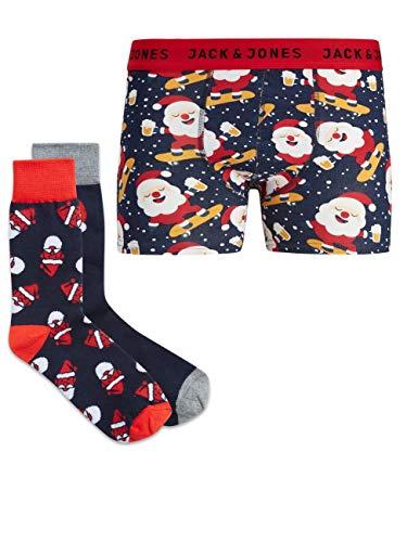 JACK & JONES Herren Geschenkbox Trunks & Socks, Größe:M, Farbe:Navy Blazer Santa on Skateboard