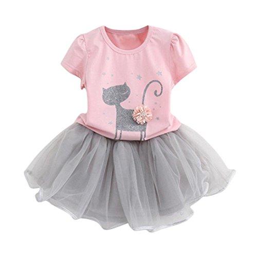 Kleid Sommer Kinder Mädchen Mode Karikatur Wenig Kätzchen Gedruckt Hemd Kleider Einstellen