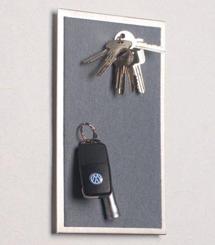Magnet - Schlüsselboard aus Edelstahl, mit Filz in dunkel-grau; 25 x 15 cm