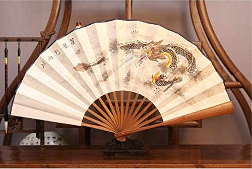 XIAOHAIZI Handfächer,Chinesische Klassische Tier Drachen FaltfächerSommer Großer Fan Tanz Hochzeit Männer Geschenk Faltfächer Für Zu Hause Wanddekoration (Chinesischer Papier Drachen Kostüm)