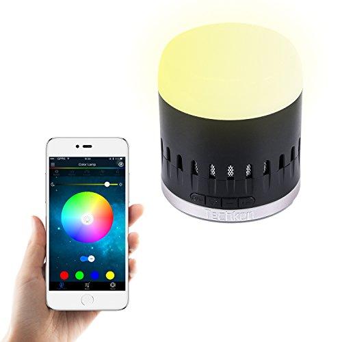 Led Bluetooth Lampe, TechKen LED Wireless Lautsprecher, [Outdoor Camping Lampe Bluetooth Lautsprecher] Portable Bluetooth Lautsprecher Outdoor LED Lampe iPhone / iPad / Android Smart Phone APP Control (schwarz) (Lautsprecher Iphone Philip Für)