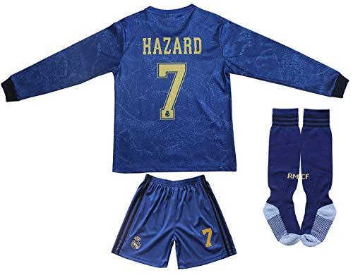 Memento 2019/2020 Real Madrid #7 Eden Hazard Auswärtstrikot Lange Ärmel Kinder Fußball Trikot Hose und Socken Kindergrößen (Heim, 30)