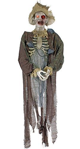 Zombie-Vogelscheuche mit glühenden Augen | Größe ca. 150 x 50 cm | Halloween-Dekoration (Halloween-vogelscheuchen)
