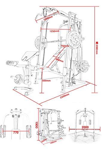 Marcy SMITH MP3100 Stazione multifunzione - struttura in acciao - Carico massimo 250 Kg - Accessorio pec - Asta per press - Panca regolabile - Bloccaggio sbarra - 24 Esercizi