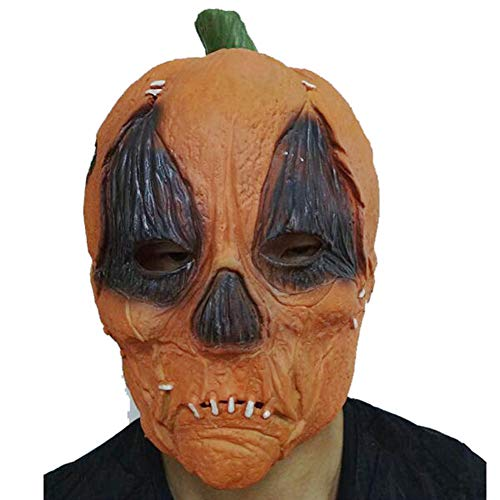 ZX Kürbis Maske Halloween Latex Geist Kürbis Kopfbedeckungen Horror Lustige Maskerade Verkleiden Sich Geisterfest Requisiten,Gelb,Erwachsener All