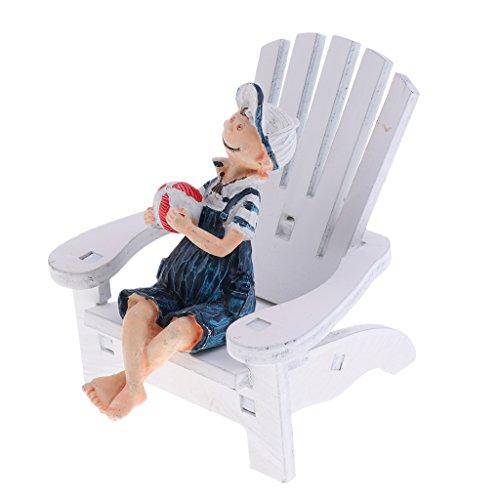 Sharplace Puppen Haus Miniatur Garten Liegestuhl Holz Stuhl Zubehör - #1
