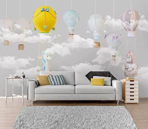 rte klassische Tapete Nordic minimalistischen handgezeichneten Tier Ballon Kinderzimmer Hintergrund Tapeten Wohnkultur T2-350cmx245cm ()