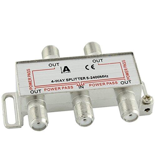 Ligawo 6552102 Sat BK Verteiler Splitter 4-Fach 5-2400 MHz mit DC Durchlass
