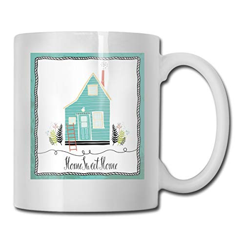 Jolly2T Funny Ceramic Novelty Coffee Mug 11oz,Small House In The Countryside Rustic Theme Fern Leaves Grunge Doodle Frame,Unisex Who Tea Mugs Coffee Cups,Suitable for Office and Home Bee House-infuser