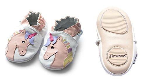 Jinwood designed by amsomo - Jungen - Maedchen - Hausschuhe - ECHT LEDER - Lederpuschen - Krabbelschuhe - soft sole / mini shoes div. Groeßen unicorn white mini shoes