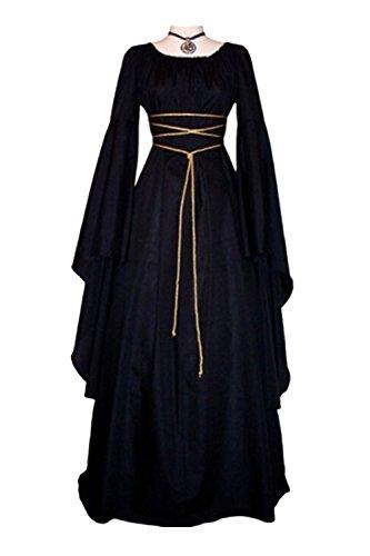 Beutyshop Damen Langarm Mittelalter Kleid-Gothic Viktorianischen Königin Kostüm mit Schnürung,Jahrgang O-Ausschnitt- Prinzessin Renaissance - Rokoko Kleid Kostüm