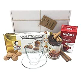 Perfect Coffee Hamper Gift Box! Italian Ground Coffee, Luxury Biscuits with Cup and Saucer Set! A Great Gift Idea for All Coffee Lovers!