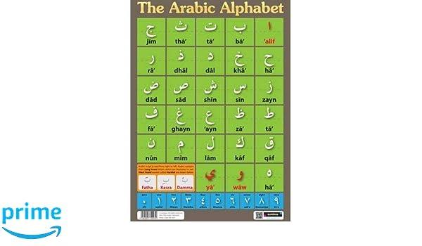Alfabeto arabo-A4 laminato POSTER-LETTERE-imparare una lingua