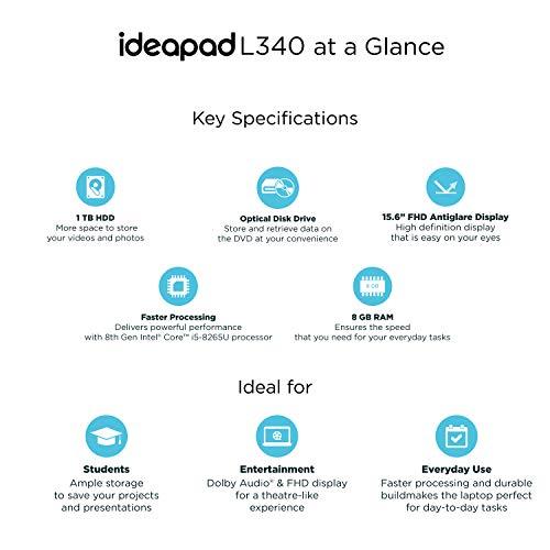 Lenovo Ideapad L340 Intel Core I5 8th Gen 15.6-inch FHD Laptop ( 8GB RAM / 1TB HDD / DOS / Granite Black / 2.2 Kg / DVD-RW), 81LG0094IN Image 2