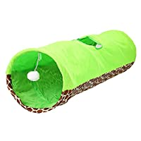 Aszhdfihas Jouet de Formation de Chat avec Un Tunnel de Chat Pliable d'un Trou Canal de Chat Sélection de Deux Couleurs Chat Bell Ball Pompom Toy. Baguette rétractable Chat