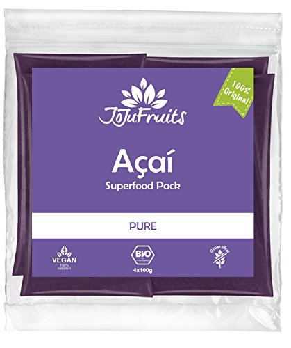 JoJu Fruits - Bio Acai Püree - PURE - 24 Smoothie Packs (Vegan, Glutenfrei, Zuckerfrei) Superfood aus Acai Beeren (Acai Pure Berry)