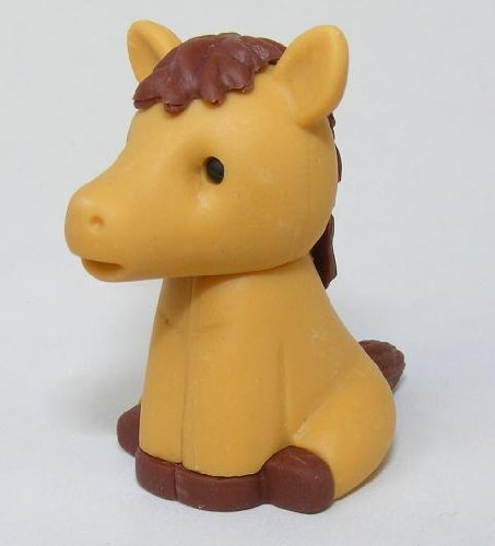 IWAKO GUMMY MIX AND MATCH COLLECTIBLE ERASERZ - Braun HORSE FARM ANIMAL (Farm Animal Gummies)