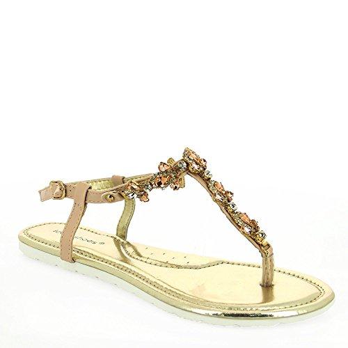 Ideal Shoes–Sandalen Flache Verschmutzungen Strass und Steinen Spiegelkugel mabela Gold - champagne