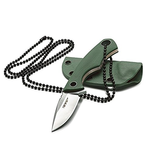 Tonife Fixed Blade Neck Knife Full Tang 4-5/8 Inch Overall with Kydex Sheath and Ball Chain (Amy...