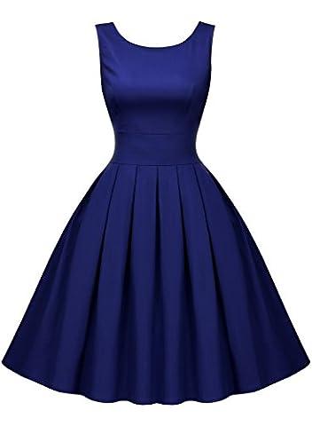 Miusol Damen Elegant Rundhals Traegerkleid 1950er Retro Cocktailkleid Faltenrock Kleid Navy Blau Groesse L