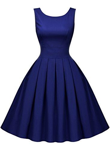 Miusol Rundhals Trägerkleid 1950er Retro Cocktailkleid Faltenrock Kleid Navy Blau