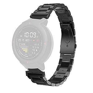 Armband für Huami Amazfit Verge,Bloodfin Solid Edelstahl Metall Ersatzarmband metallarmband Edelstahl Ersatzband Smart Watch Schlaufe Uhrenarmband für Männer Frauen(Schwarz Silber