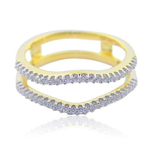 rings-midwestjewellery. COM Damen 10K Gelb Gold Ring Guard Jacke Ring 1/4cttw Diamanten 7,25mm breit (Hochzeit Ring Vintage Gold Guard)