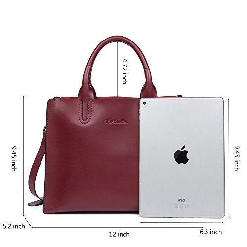 BOSTANTEN Damen Leder Schultertasche Shopper Handtasche Top Griff Umhängetasche Tote Bag Weinrot B Weinrot A