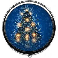 LinJxLee Christmas Tree Lights Round Pill Case Pill Box Tablet Vitamin Organizer Easy to Carry preisvergleich bei billige-tabletten.eu