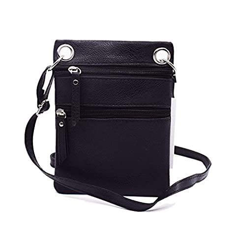 Women Cute Mini Crossbody Bag / Cellphone Purse / Shoulder Bag / Cellphone Pouch, WITERY Soft Leather Double Zippers 2 Pockets Small Wallet Purse with Adjustable Shoulder